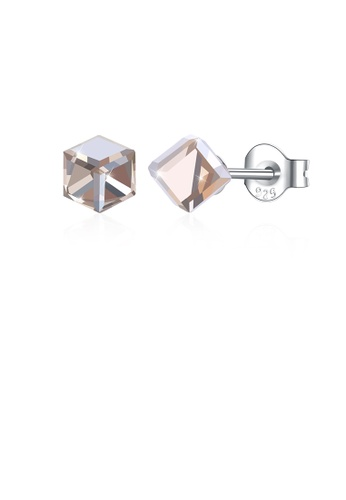 Glamorousky gold 925 Sterling Silver Simple Geometric Square Champagne Austrian Element Crystal Stud Earrings 9AFFCAC9B61F5FGS_1