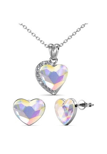 Her Jewellery multi Fond Love Set (AB Rainbow) - Made with premium grade crystals from Austria DEC14AC0AAB753GS_1