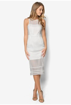 Premium Mesh Panelled Midi Dress