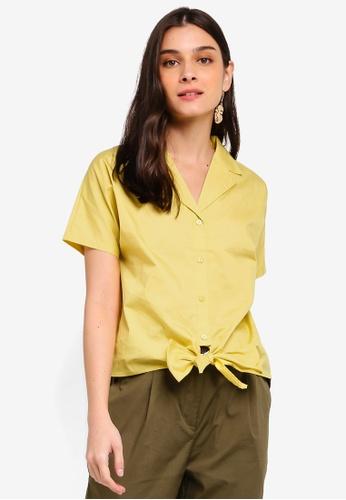 ZALORA 黃色 Tie Front Shirt 97671AA5D92E2CGS_1