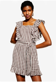 bfa496e28db59 TOPSHOP brown Gingham Ruffle Mini Dress B1BDCAACE7DD37GS_1