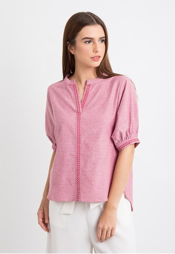 The B Club red Zigzag Embroidery Top 4F60AAACDB7B9AGS_1