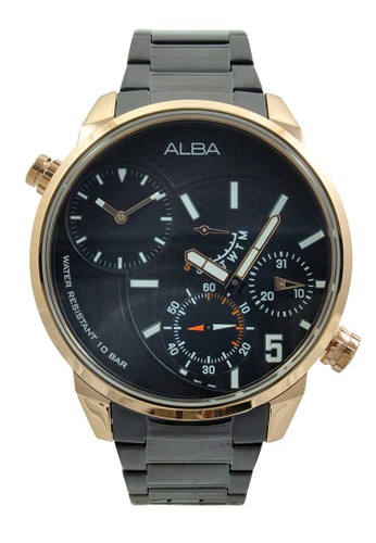 Alba black ALBA Jam Tangan Pria - Black Rosegold - Stainless Steel - A2A002 AL383AC83NIUID_1