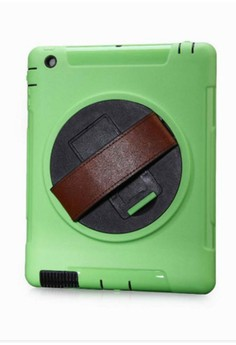 Shockproof Armor Case Silicone 360 Rotating Stand with Leather Belt for Apple iPad Air 2