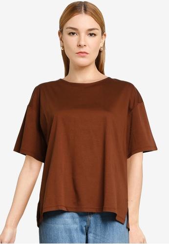 LOWRYS FARM brown Back Zipper T-shirt 41326AA3668029GS_1