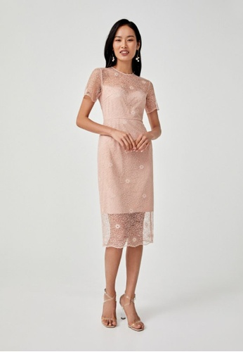 Love, Bonito pink Alisha Lace Overlay Pencil Dress 34FF1AA5C3AB62GS_1
