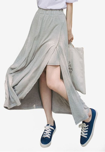 Eyescream grey Side Slit Maxi Skirt AAD58AA655C70CGS_1