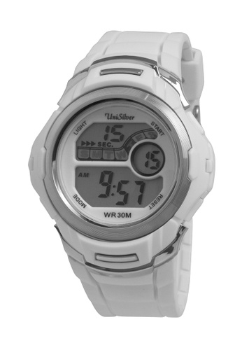 UniSilver TIME white and silver Nucleon Men's  Digital Rubber Strap Watch KW2208-1004 UN802AC27OGQPH_1