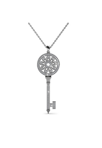 Her Jewellery white Her Jewellery Le Key Pendant (White Gold) with Necklace Chain with 18K Gold Plated 6F44DACF94956CGS_1