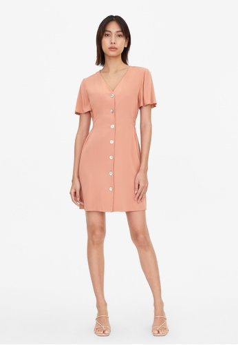 Pomelo pink Ruched Waist Button Up Dress - Pink B6F7AAA46FAF2AGS_1