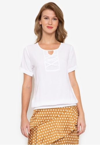 No Apologies white Woven Plain Rayon Short Sleeves Blouse 009A0AAF5F442AGS_1