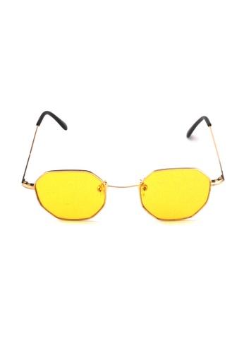 2i's to eyes yellow Sunglasses│Vintage Polygon│Black Frame Black Lens│UV400 Protection│2is NazY 7CC17GLE007016GS_1