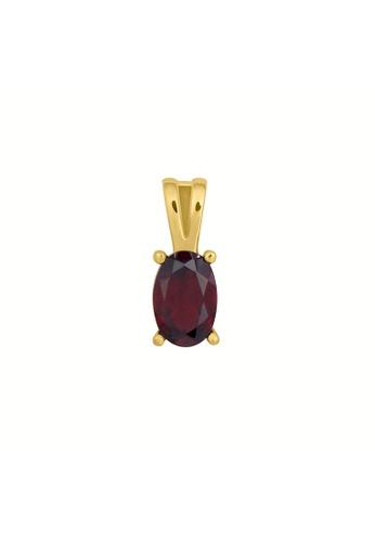 GEMLINE JEWELRY red Birthstone Oval Pendant January- Garnet colored Cubic Zirconia 8E74CAC1E7233FGS_1