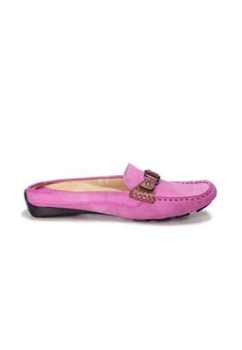 Shu Talk pink AMAZTEP Bi-colored Buckle Slip On Mule Loafers(for Narrow Feet) BA811SH64DB3A2GS_1