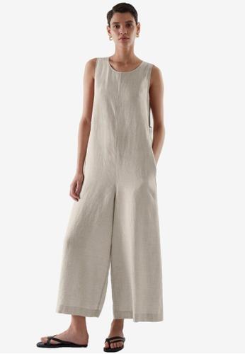 Cos beige Sleeveless Linen Jumpsuit 6851BAA9105DF8GS_1
