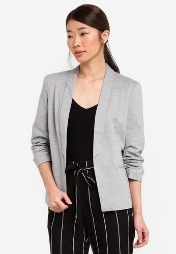 Miss Selfridge grey Ruched Sleeve Ponte Jacket E2C1CAAC14BC0FGS_1