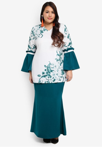 peace collections green Plus Size Kurung 556ABAA99260CDGS_1