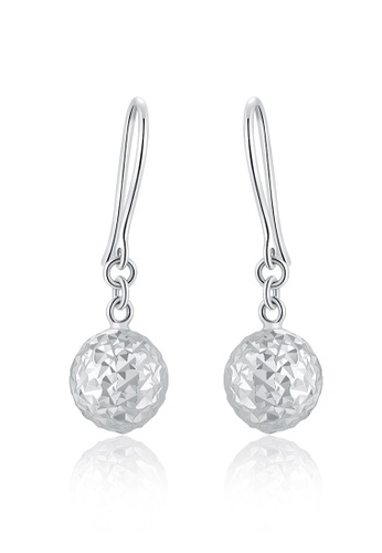 MaBelle silver 14K White Gold Dangling Faceted Ball Earrings MA584AC47IFSHK_1