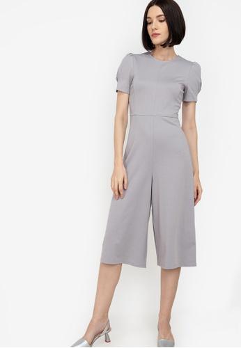 ZALORA WORK grey Puff Sleeves Jumpsuit 95036AA4F42627GS_1