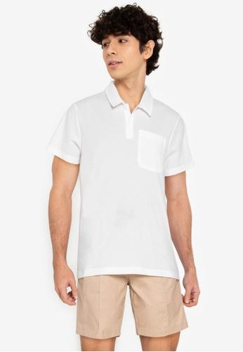 ZALORA BASICS white Contrast Stitch Polo Tee A255EAA59C6055GS_1