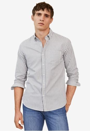 MANGO Man grey Slim Fit Striped Cotton Shirt B7B7BAA497C3DDGS_1
