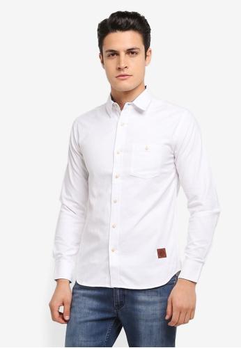 Volkswagen 白色 Volkswagen Cotton Long Sleeve Woven Shirt VO089AA0SKGMMY_1