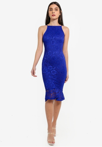 ae49955f2f8e Shop AX Paris Blue Lace Fishtail Midi Dress Online on ZALORA Philippines