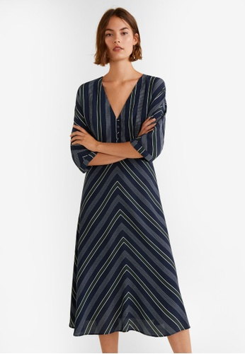 Mango blue and navy Stripped Print Dress F38A0AA0D51FA9GS_1