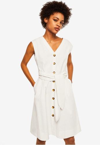 Mango white Textured Bow Dress 638BCAA965A6E7GS_1