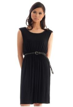 Cotton w/ Beads Sleeveless Dress w/ Belt