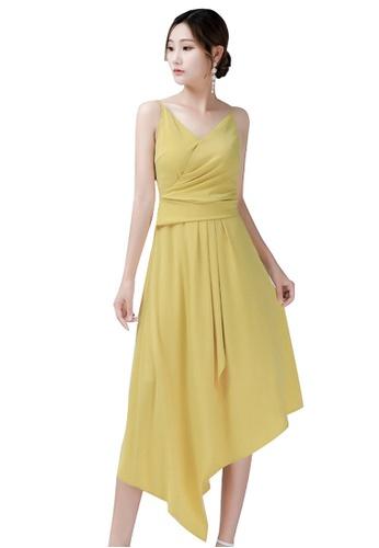 Urban Outlier yellow and green Asymmetrical V-neck Eveninng Dress C4F6CAA5E1E852GS_1