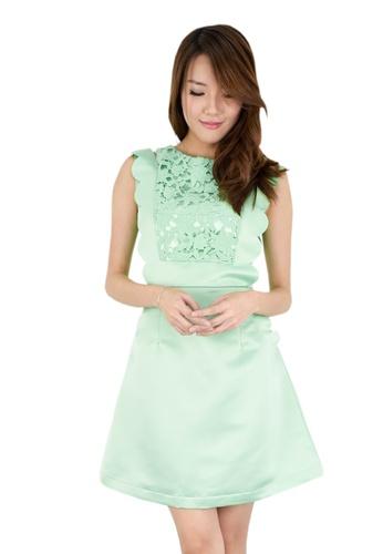 MOONRIVER green Tess Lace Pattern Dress MO886AA73DLISG_1
