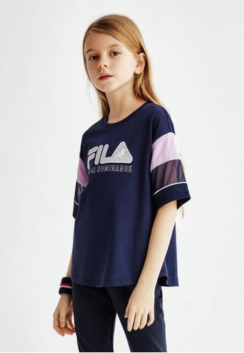 FILA navy FILA KIDS FILA x STAPLE Dropped Shoulder Cotton T-shirt 6-13yrs 92A77KAE727807GS_1