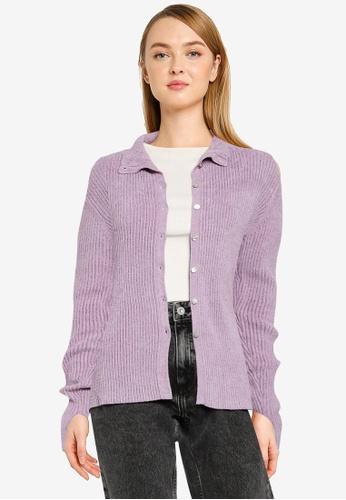 LOWRYS FARM purple Casual Cardigan 46E76AAFDCCBCEGS_1