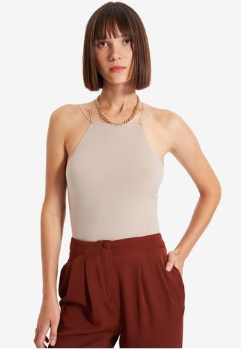 Trendyol beige Sleeveless Plain Bodysuit 48325AA92F04A4GS_1