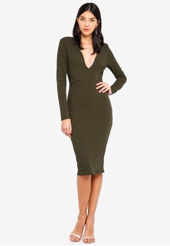 MISSGUIDED green Slinky Rib Plunge Midi Dress 3346CAAB87A025GS 1 159f53923