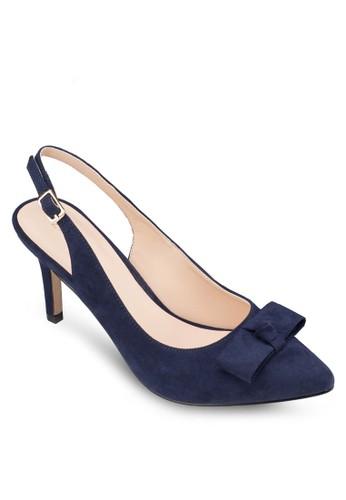 蝴蝶結踝帶尖頭中跟鞋, 女鞋,zalora是哪裡的牌子 厚底高跟鞋