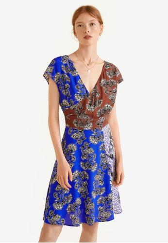 Mango blue Contrasting Print Dress 326D8AAD2C754DGS_1