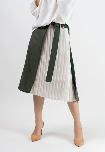Anyday & More white and green ACCORDION SKIRT B2D6BAA42C4950GS_1