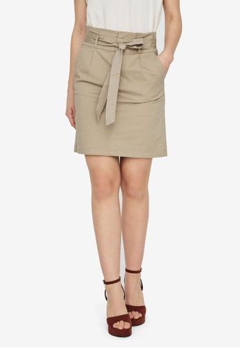 Vero Moda beige Eva High Rise Paperbag Skirt 2BE33AA11B2ABCGS_1