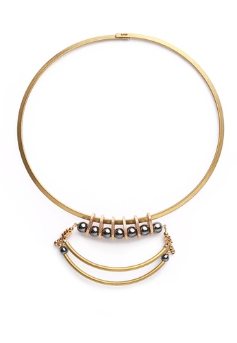 Gung Jewellery gold Andaz Black Beads Choker in Antique Gold 0D7B9ACC1B925BGS_1