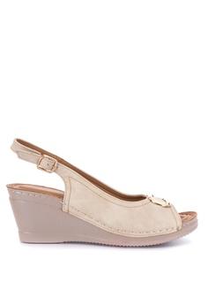 5b57c0b4a9a Mendrez beige Anniya Peeptoe Wedge Sandals E8696SHAAB2E8FGS 1