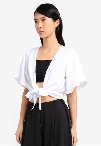 Supre white Tie Front Flare Sleeve Top SU225AA0SRJ3MY_1