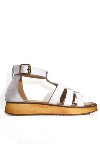 Twenty Eight Shoes 白色 真皮羅馬式厚底涼鞋 VS66612 86A87SH3780D1FGS_1
