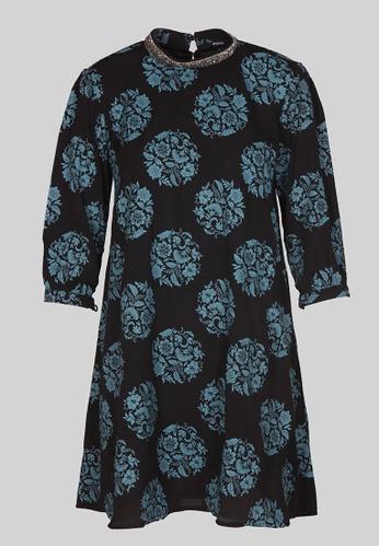 Le Reve black Le Reve A line Black Tunic Dress with Embellished Neck 490B7AA4C6388CGS_1