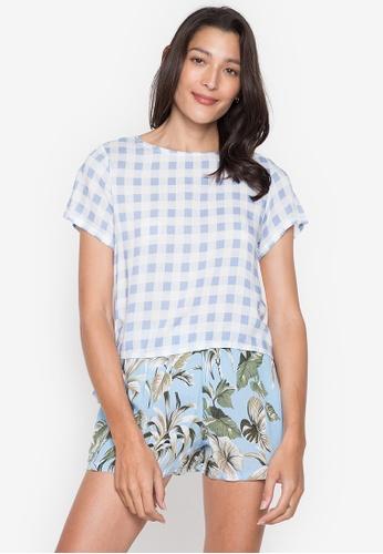 Seventh Cherie blue Short Sleeve Top W/ Back Buttondown & Tie On Side Hem 92529AA0A75832GS_1