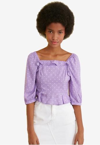 Trendyol purple Printed Square Neck Blouse 3FEFDAAF5956B8GS_1