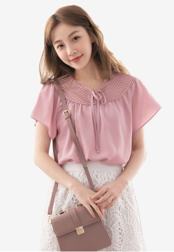 Eyescream pink Lace Insert Ribbon Tie Blouse E7505AA6ACBEB1GS_1