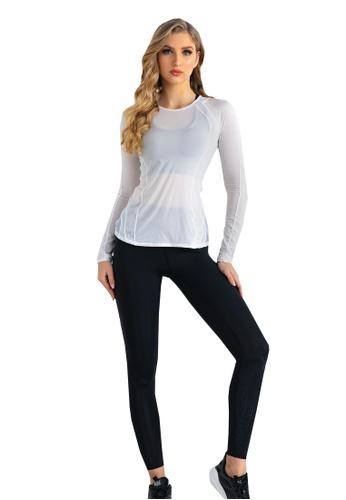 B-Code white ZUU3050-Lady Quick Drying Running Fitness Yoga Sports Top-White 1AEAFAA2DEE497GS_1
