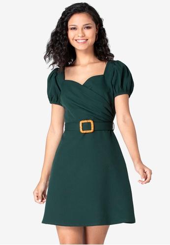FabAlley 綠色 Buckle 腰帶綁帶洋裝 AA268AA5941524GS_1